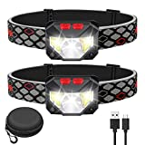 Kucoal LED Rechargeable Headlamp,2-PACK Waterproof Flashlight Motion Sensor Control Head lamp, 1000 Lumen Bright 30 Hours Runtime USB Headlight for Running, Camping, Hiking and More