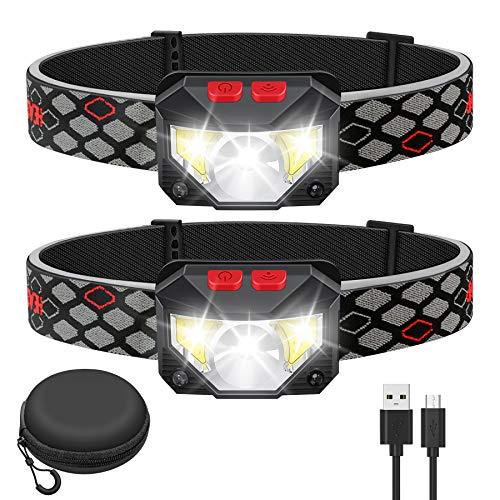 Kucoal LED Stirnlampe,1000 Lumen Superhell LED Wiederaufladbar Kopflampe mit Weißem Rotem Licht,2 Stück Wasserdichte Bewegungssensor Scheinwerfer, 8 Modi für Camping,Radfahren,Laufen,Angeln,Wandern