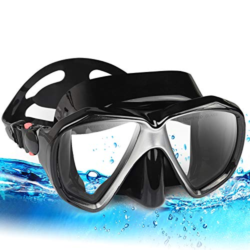 EXP VISION Snorkel Diving Mask, Panoramic HD Scuba Swim Mask, Tempered Anti-Fog Lens Glasses Snorkel Goggles, Scuba Dive Snorkel Mask with Silicone Skirt Strap for Dry Snorkeling, Swimming (Black)