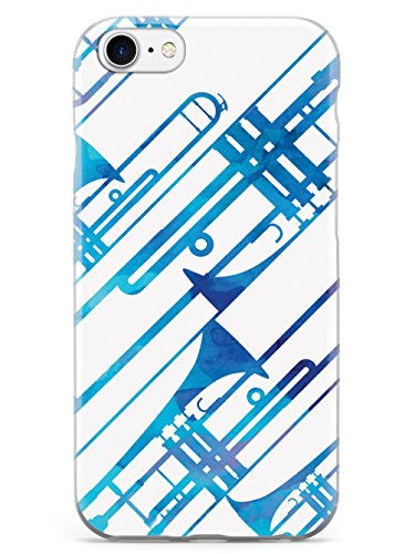 Inspired Cases - 3D Textured iPhone 8 Case - Rubber Bumper Cover - Protective Phone Case for Apple iPhone 8 - Abstract Trombone - Watercolor