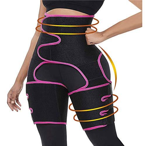 Gahin 3 in 1 High Waist Thigh Trimmer for Women Fitness Weight Loss Belt Pink