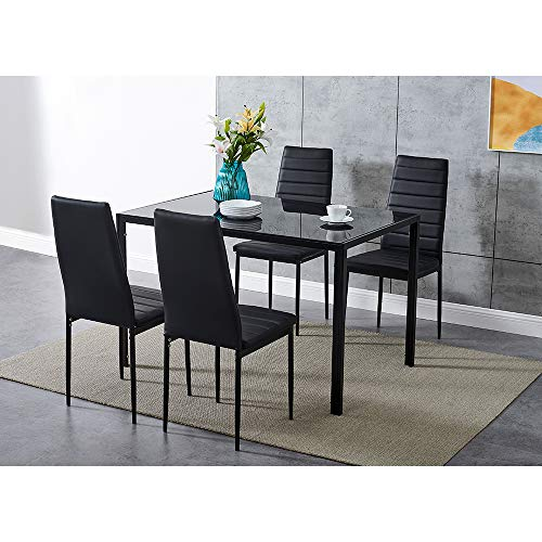 Dining Table and Chairs 4 Seater with Glass Room Leather Kitchen Furniture Set (Black Table120cm + 4 Black Chair)
