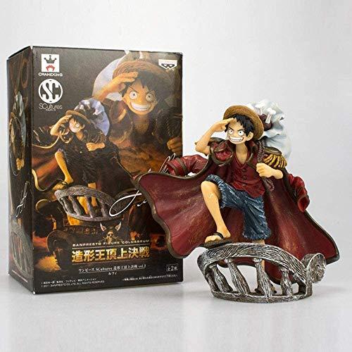 Mopoq Anime ONE PIECE Top Kampf Strohhut-Piraten Ruffy VS Oka Shichibukai Hawk Eye Mihawk PVC Action Figure Sammlung Modell Spielzeug Z1-Brown (Color : EIN)