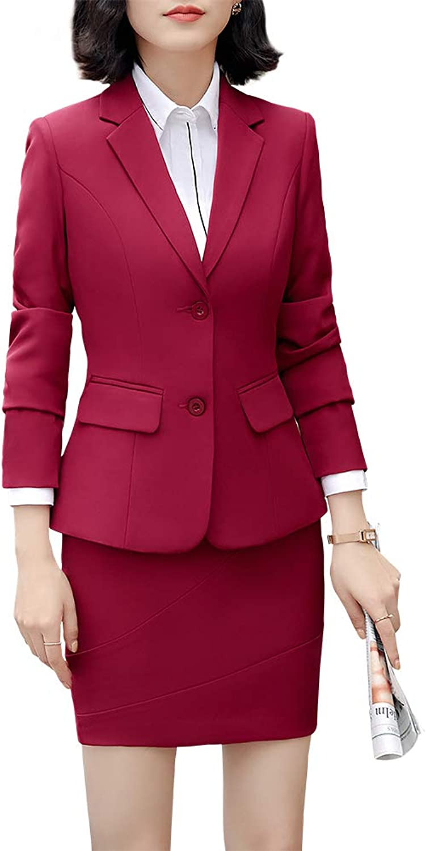 SUSIELADY Women's Two Pieces Work Office Blazer Jacket Lady Suit Slim Double Button Blazer Coat