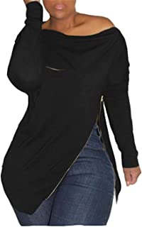 Women's Sexy Long Sleeve Tops One Shoulder Shirt Loose Solid Split Pullover Top Tunic Blouse Jumper with Zipper Plus Size