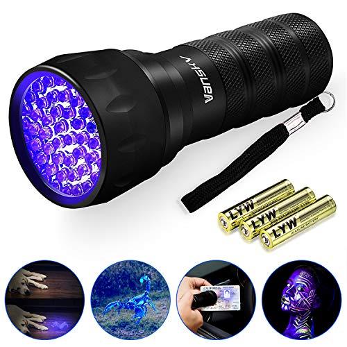 UV Schwarzlicht Taschenlampe 21 LEDs | Vansky Haustiere Urin Detektor für Eingetrocknete Flecken Ihrer Hunde, Katzen und Nagetiere auf Teppichen, Vorhänge, Gardinen, Möbel | inkl. 3xAAA Batterien