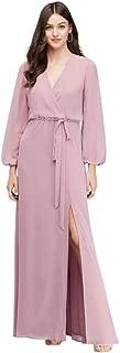 Long Sleeve Chiffon Faux-Wrap Bridesmaid Dress Style W60041