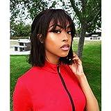 Parrucche bob corte per donne nere Parrucche per capelli umani con frangia Parrucche bob vergini brasiliane da 10 pollici con densità 150% colore naturale