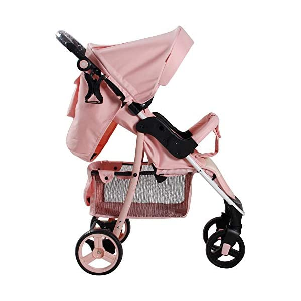 My Babiie Billie Faiers MB30 Pink Stripes Pushchair My Babiie Stylish ultra-modern pushchair, padded removable front bar, height adjustable handle, hood includes storage pocket Extendable 3 position canopy, multi-position one handed adjustable backrest, great on the go being lightweight but strong, lockable front swivel wheels, rear wheels link brake Compact fold, adjustable 2-position foot rest for extra comfort, large storage basket under the seat, padded 5 point safety harness making this one of the safest little movers around 5