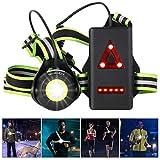 ICOCOPRO Lauflicht mit Reflektoren, 90 ° Verstellbares LED Brustlicht Wasserdicht, USB Wiederaufladbar 500 Lumen Lauflampe mit Rotes Rücklicht für Laufen, Joggen, Angeln, Campen (Black)