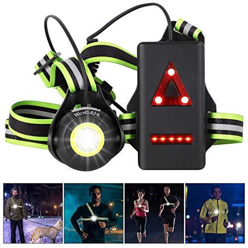West Biking Lauflicht, USB Wiederaufladbare Brustlampe, 90° Verstellbarem Abstrahlwinkel, 500 Lumen Wasserdicht Lampe zum Laufen mit Reflektierenden Riemen für Läufer Joggen Camping