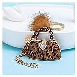 Portachiavi 2020 Nuovo leopardo di lusso Stampa Catena visone sfera della pelliccia borsa portachiavi chiave del sacchetto delle donne for il pendente fascino portachiavi dell'automobile di modo Anell