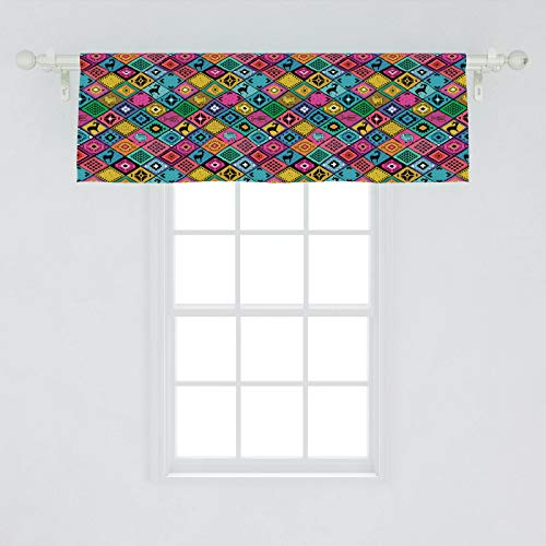 Ambesonne Southwestern Window Valance, Patchwork Style Pattern in Hand Drawn Style and Patterns Boho Hippie, Curtain Valance for Kitchen Bedroom Decor with Rod Pocket, 54' X 18', Multicolor
