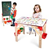 2 in 1 Wooden Art Table Easels, Kids Big Size Adjustable Standing Painting Drawing Easel Desk with Magnetic Double Sided Whiteboard and Chalkboard for Toddler Boys and Girls