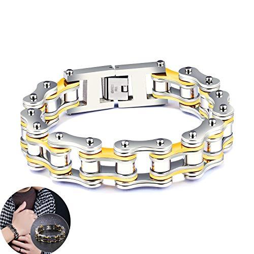 @Y.T Herren Armband Persönlichkeit Titan Stahl Lokomotive Punk Fashion Herren Persönlichkeit Fahrrad Armband,A