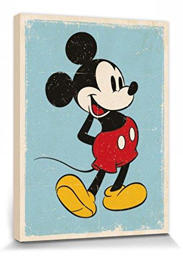 1art1 Mickey Mouse - Retro Cuadro, Lienzo Montado sobre Bast