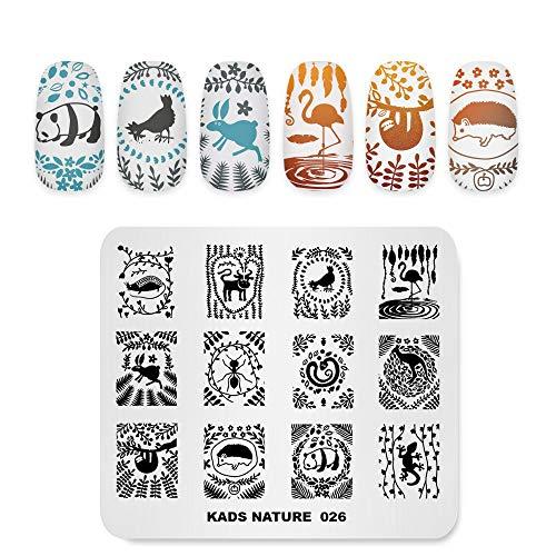 KADS Nail Stamping Plate Flamingo Panda Snake Template Image Design Plates for Nail Art Decoration and DIY Nail Art (NA026)