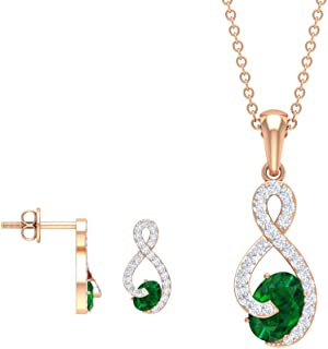 Oval Cut 1.67 CT Emerald Earring and Necklace Set, Diamond Infinity Jewelry, Green Gemstone Earring, May Birthstone Neckla...