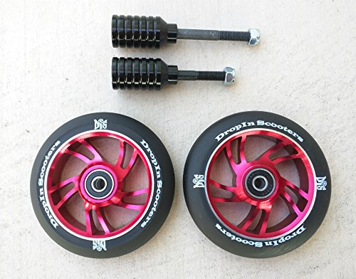 DropIn Scooters DIS 110mm 10-Spoke Red Park Wheels and Black Pegs Set