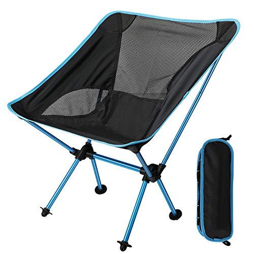 EXTSUD Ultraleichter Campingstuhl Anglerstuhl Klappstuhl kompakter tragbar Stuhl mit Tragetasche für Outdoor Aktivitäten,Camping,Grill,Picknick,Strand,Wandern max Belastung beträgt 150kg|MEHRWEG