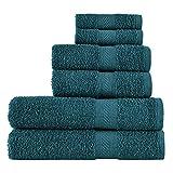 SweetNeedle - Uso diario Juego de toallas de 6 piezas, Teal - 2 toallas de baño 70x140 CM, 2 toallas de mano 50x90 CM,...