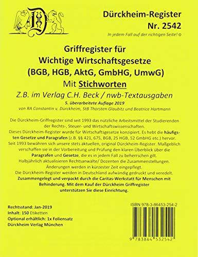 DürckheimRegister WICHTIGE WIRTSCHAFTSGESETZE (BGB, HGB, GmbHG, AktG, UmwG) (2019/2020) mit Stichworten: 150 Registeretiketten (sog. Griffregister) ... • In jedem Fall auf der richtigen Seite