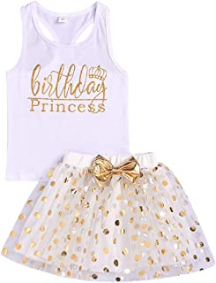 Toddler Kids Baby Girls Outfits Birthday Princess Long Sleeve Shirts Top +Dot Bubble Skirt 2PCS Fall Winter Clothes Set