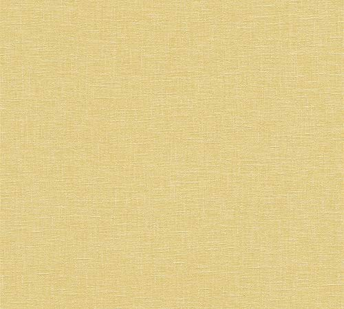 A.S. Création Vliestapete Linen Style Tapete Uni 10,05 m x 0,53 m gelb Made in Germany 366345 36634-5