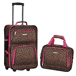 Rockland Fashion Softside Upright Luggage Set, Pink Leopard, 2-Piece (14/19) from Fox Luggage