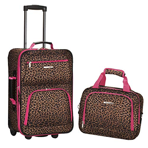 Rockland Fashion Softside Upright Luggage Set, Pink Leopard