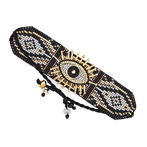 Rongzou - Pulsera de ojo turco con cuentas tejidas hechas a mano