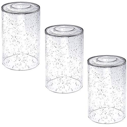 ECUDIS 3 Pack Seeded Glass Shade with 1-5/8-inch Fitter, Lighting Fixture Accessory Clear Glass Globes Replacement