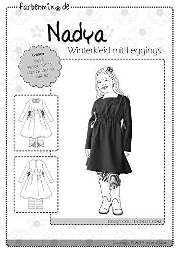 Nadya Farbenmix Schnittmuster (Papierschnittmuster für die Größen 86/92-146/152) Winterkleid mit Leggins