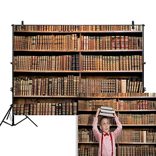 Funnytree 7x5ft Library Bookshelf Photography Backdrops Back to School Student Study Room Books Banner Photo Studio Booth Background Newborn Baby Shower Photocall
