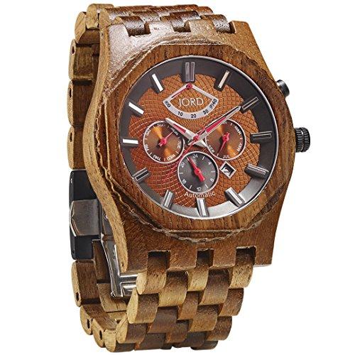 JORD Wooden Watches for Men - Sawyer Series Chronograph Automatic/Wood Watch Band/Wood Bezel/Self Winding Movement - Includes Wood Watch Box (Koa & Bronze)