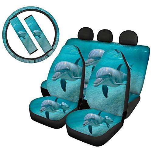 Coloranimal Niedlicher blauer Delfin-Druck für Vordersitz, Rücksitzbezug für Auto-Innenausstattung, vollständiges Set, 6-teilig, inkl. Sitzbezug + Gurtpolster, Neopren-Stretch-Lenkradpolster
