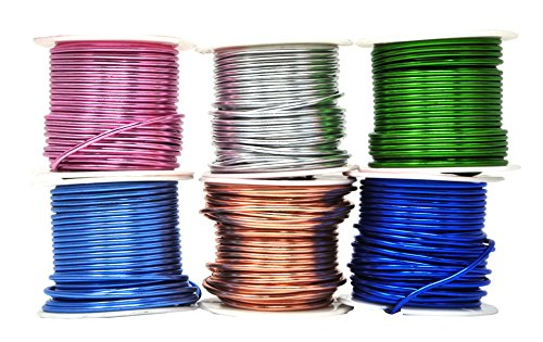 Mandala Crafts Anodized Aluminum Wire for Sculpting, Armature, Jewelry Making, Gem Metal Wrap, Garden, Colored and Soft, Assorted 6 Rolls (12 Gauge, Combo 7)