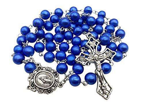 Nazareth Store Collar de rosario católico perlas de cristal azul medalla milagrosa y cruz NS - bolsa de terciopelo