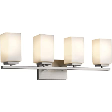 Zeyu 4 Light Bathroom Light Fixture Vanity Light For Bathroom Living Room 26 Inch Brushed Nickel Finish With Frosted Glass Shade 6106 4 Bn