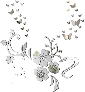 Pegatinas Decorativas Espejo Pared Flores y 30pcs Mariposas Vinilos Adhesivos Decoración DIY Hogar Habitación Dormitorio Baño