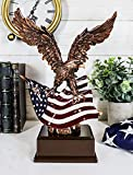 Gifts & Decor Wings of Glory Bald Eagle with American Flag Bronze Electroplated Figurine Freedom Liberty Patriotic Statue