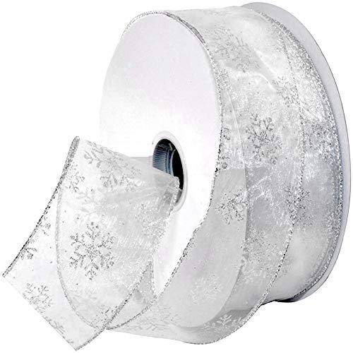 Nastri di organza Nastro di chiffon natalizio con fiocco di neve Glitter metallico, 11 iarde 2,5 pollici Shimmer Band Glitter Ribbon Ribbon artigianale Tulle per confezione regalo, Capelli Silver