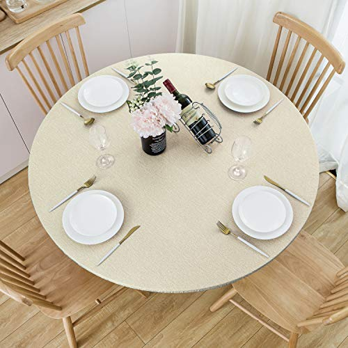 NLMUVW Round Fitted Vinyl Tablecloth with Elastic Edge 100% Waterproof Oil Proof PVC Table Cloth Wipe Clean Table Cover for Indoor and Outdoor, Champagne, 40' - 44'