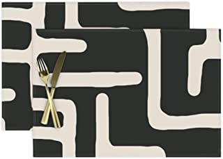 Roostery Cloth Placemats, African Fashion Mudcloth Modern Kuba Print, Cotton Sateen Placemats, Set of 2