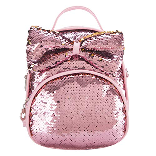 Lazzboy Bag Girls Parent-Child Sparkly Sequins Bow Costume Travel Backpack Shoulder Bags Student Dayback(Pink,11.4(L) x5.1(W) x15.7(H)')