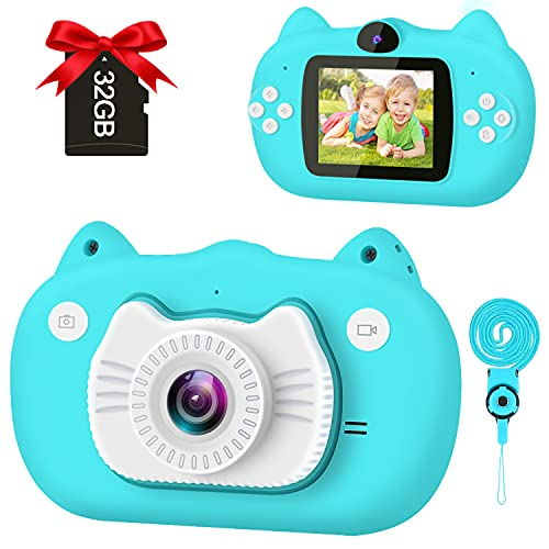 GKTZ Kids Selfie Camera, HD Digital Video Cameras Birthday Gifts Toy for Boys Age 3-10, Kids Camcorder with 2 inch IPS Screen 12MP 1080P Toddler Camera with 32GB SD Card - Blue