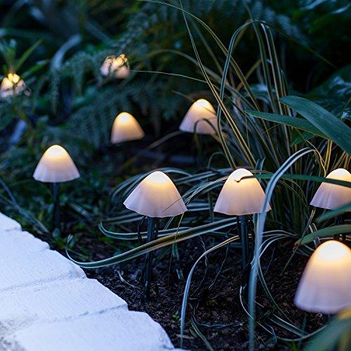 12 LED Solar Lichterkette Pilze warmweiß Lights4fun