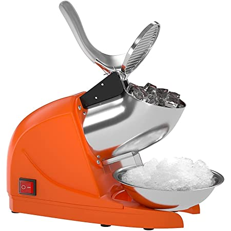 OKF Ice Shaver Prevent Splash Electric Three Blades Snow Cone Maker Stainless Steel Shaved Ice Machine 220lbs/hr Home and Commercial Ice Crushers (Orange)