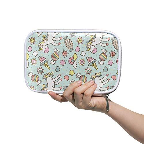 Eenhoorn met snoepjes patroon Potlood Case Cosmetische Tas Grote Capaciteit Organizer Make-up Koppeling Tas voor Travel School