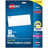 Avery Address Labels with Sure Feed for Inkjet Printers, 0.5' x 1.75', 800 Labels, Permanent Adhesive (18167), White